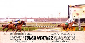 Tough Weather's win at Laurel December 18th kicked off her recent streak. Photo by Jim McCue.