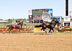 Everything Magic won by 1 3/4 lengths Sunday at Pimlico. She made it easier on herself, winning by a 1 3/4 length cushion. Photo by Jim McCue.