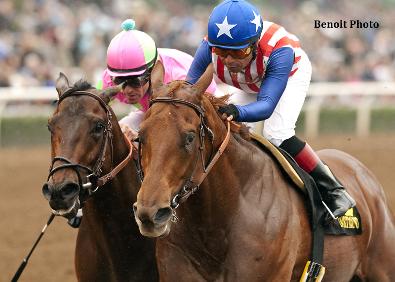 Kaleem Shah's Dortmund and jockey Martin Garcia, right, hold off Firing Line and jockey Gary Stevens to win the Grade III $150,000 Robert B. Lewis Stakes Saturday, February 7, 2015 at Santa Anita Park in Arcadia, CA.