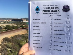 The Pacific Classic field includes '14 Derby winner California Chrome, 3 time Eclipse award winning Beholder, and Virginia owned Dortmund!