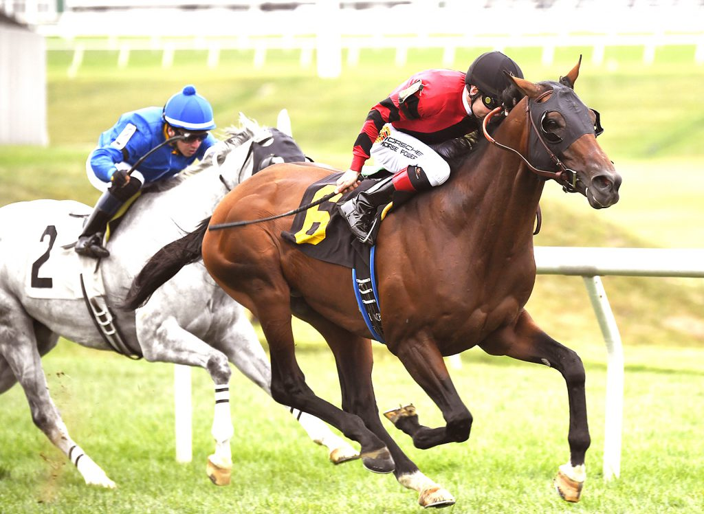 Moon River upset favorite Two Notch Road in the 2016 Punch Line Stakes. Photo by Jim McCue.