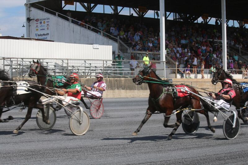 Horses approach the finish in front of an appreciative crowd at the Shenandoah County Fair. Photo by Andy Huffmyer.