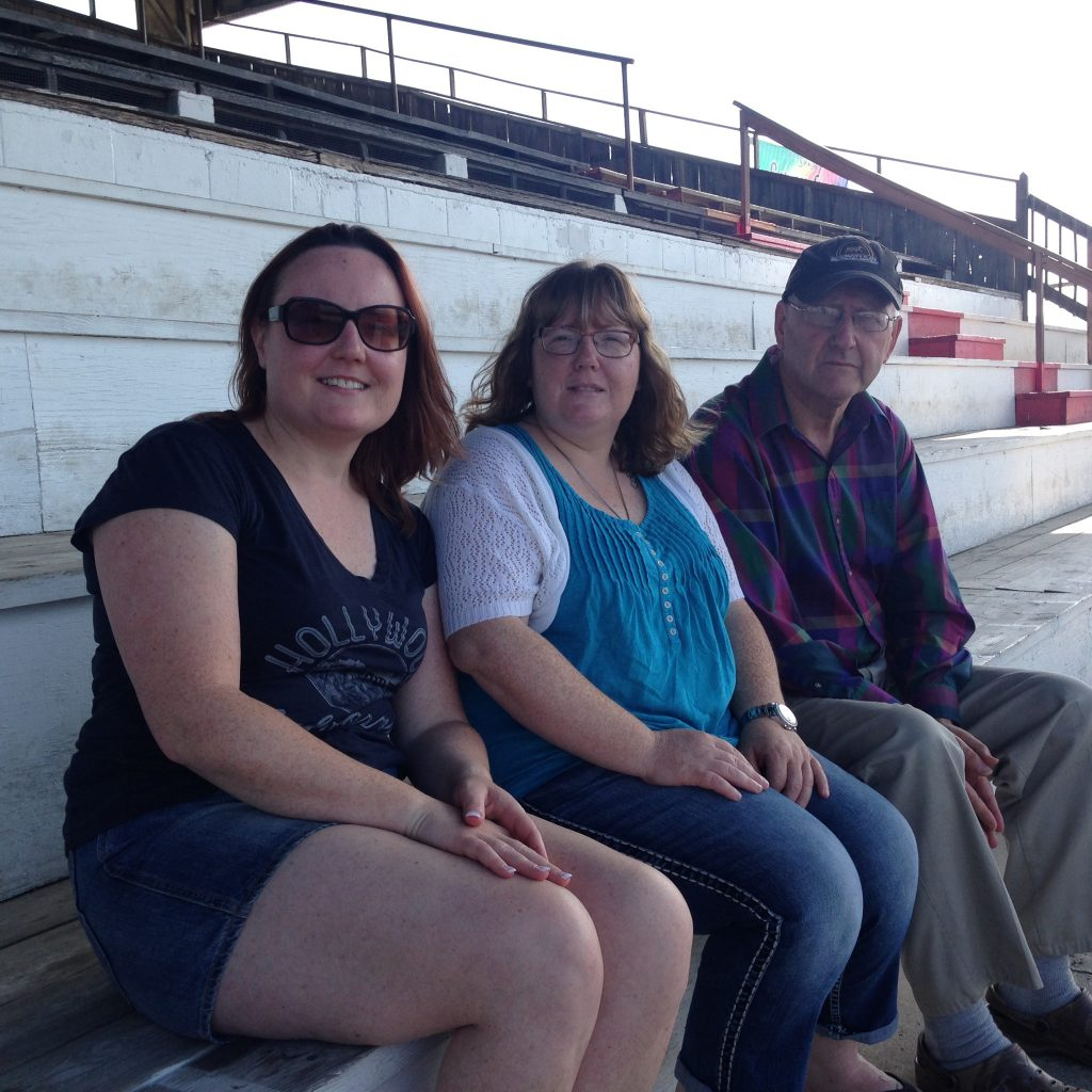 Linda Somers, Tracy Conway and Alan Conway drove 16 hours from Price Edward Island to be first in the gates at Shenandoah Downs on Saturday.
