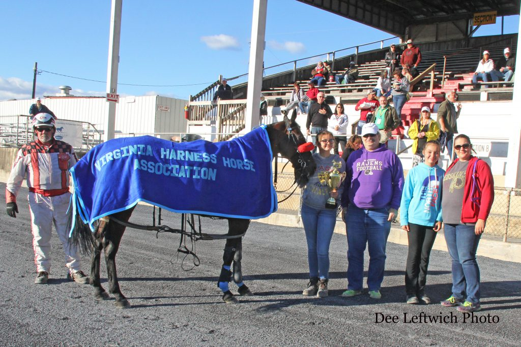 B Blissful had his winning streaked on closing day when a tire went flat on his sulky during the race. Photo by Dee Leftwich.