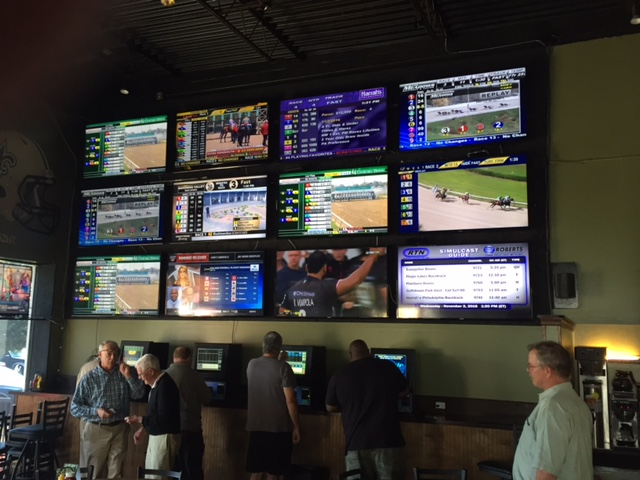 The OTB at Breakers has a giant video wall, showing racing action from tracks around the country.