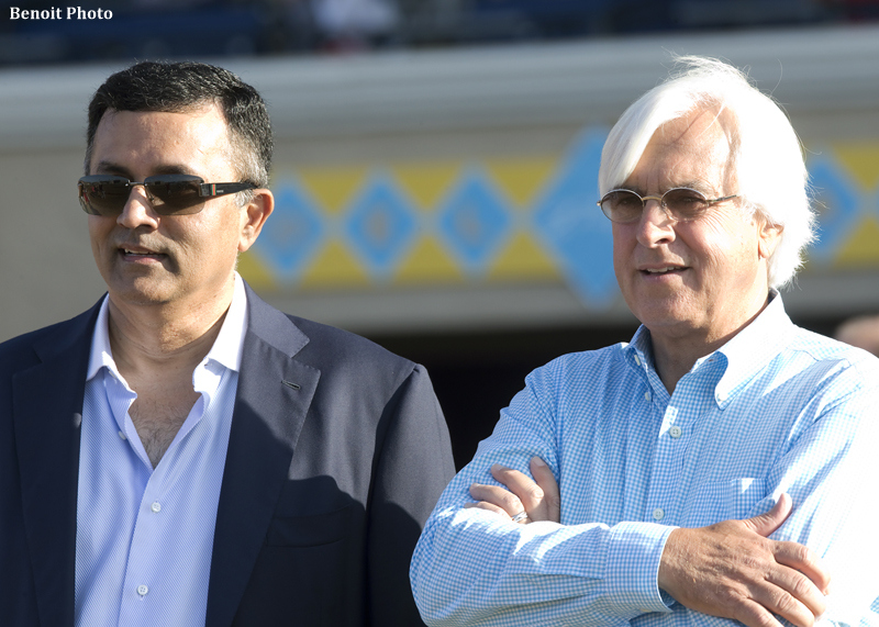 Owner Kaleem Shah, left, await's the return of Klimt with trainer Bob Baffert, right, after their victory in the Grade II, $200,00 Best Pal Stakes, Saturday, August 13, 2016 at Del Mar Thoroughbred Club, Del Mar CA.© BENOIT PHOTO