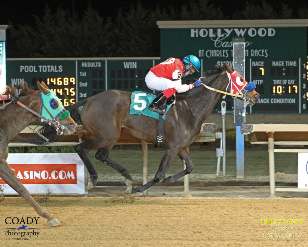A horse for the course? Start Winning has captured four of her last seven starts at Charles Town including this triumph Jan. 27. Photo courtesy of Coady Photography.