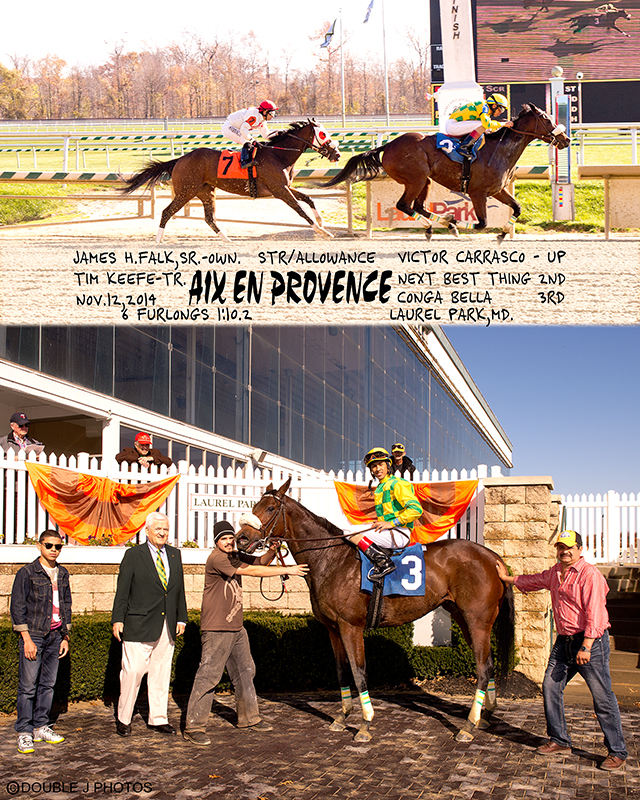 Aix En Provence is shown after collecting one of her 10 lifetime victories. Number 10 came February 3rd at Aqueduct.