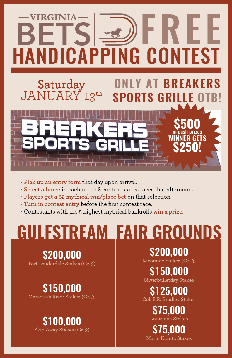 FREE Handicapping Contest Set For Breakers Sports Grille OTB