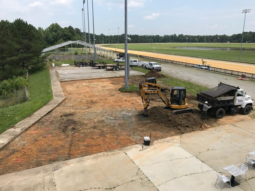 """The trackside """"Green"""" area along the stretch is being redone to provide a comfortable environment for racing fans this summer."""